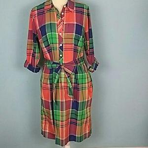 Talbots preppy plaid shirt dress 12 long sleeves